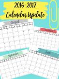 2016-2017 Calendar Updates for all Binders (Editable)