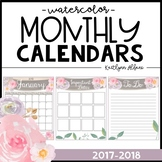 2017-2018 Calendar - Watercolor Garden