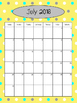 2016-2017 Calendar - Yellow Background with Dots