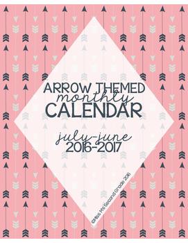 2016-2017 Calendar for Binder: Pink & Navy, Arrow Themed