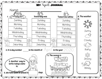 Editable Calendar 2019 - 2020 with Center Activity and Student Daily Journal