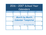 2016-2017 Calendars - School Year - Colour and Black and White