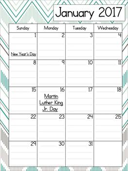2016-2017 Chevron Teacher Plan Book and Calendar