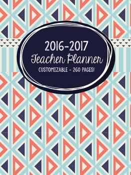 2016-2017 Customizable Teacher Planner - Navy & Red (Updat