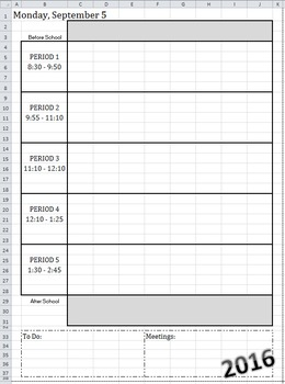 2016-2017 DAILY Calendar-At-A-Glance Template