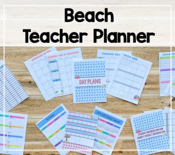 2018-2019 Teacher Binder/Lesson Planner (Beach Theme)