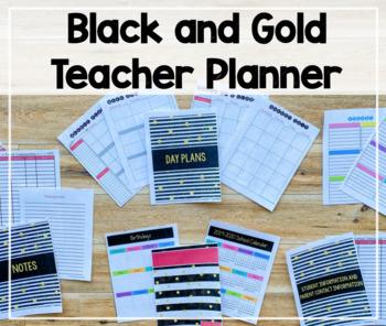 2018-2019 Teacher Binder/Lesson Planner (Black and Gold Theme)