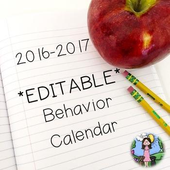 2016-2017  *EDITABLE* Behavior Calendar & Behavior Chart Cards