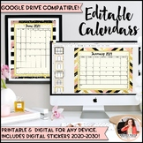 2017-2018 Editable Calendars {Chic & Glam, Portrait & Landscape, Free Updates!}