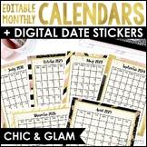 2018-2020 Editable Calendars {Chic & Glam, Portrait & Landscape, Free Updates!}