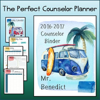2016-2017 Editable Counselor Planner Binder-- Surf's Up Theme