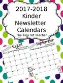 2018-2019 {Editable} Kinder Newsletter Calendar