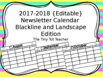2016-2017 {Editable} Newsletter Calendar