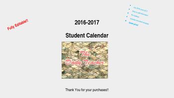 2016-2017 Editable Student Planning Calendar