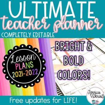 2017-2018 Editable Teacher Planning Binder {Bright and Bold Design}