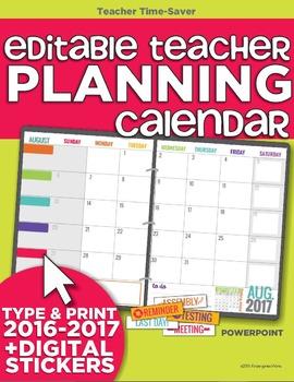 2016-2017 Editable Teacher Planning Calendar Template