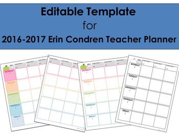 2016-2017 Editable Template for use with Erin Condren Teac
