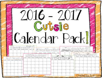 "2016-2017 FREE ""Cutsie"" Calendar Pack!"