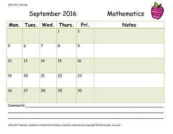 2016-2017 Homework Tracking Calendar