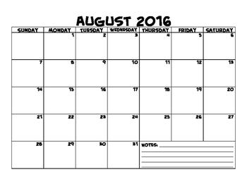 2016-2017 Landscape Printable Calendar Freebie