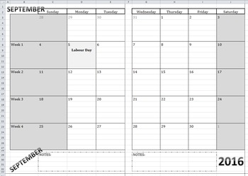2016-2017 MONTHLY Calendar-At-A-Glance Template