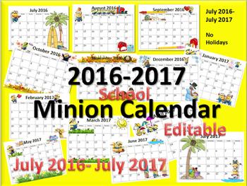 2016-2017 Minion school Calendar