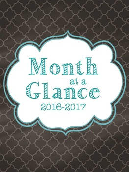 2016-2017 Month at a Glance Calendar for Chalk It Up Lovers