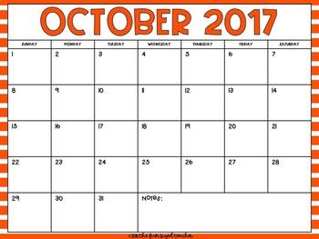 2016 - 2017 Monthly Calendar - Bright