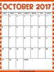 2017 - 2018 Monthly Calendar - Bright Stripes