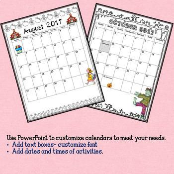 2017 - 2018 Monthly Calendar Editable