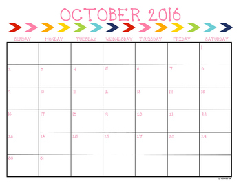 2016-2017 Monthly Calendar {Primary Colors}