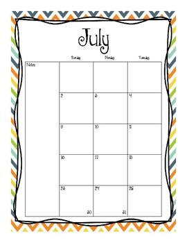 2017-2018 Monthly Calendars (Blue Orange Yellow Green)