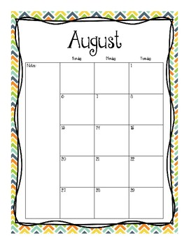 2017-2018 Monthly Calendars (Blue Orange Yellow Green)