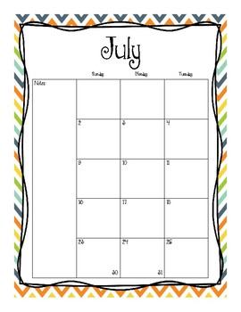 2016-2017 Monthly Calendars (BGOY)