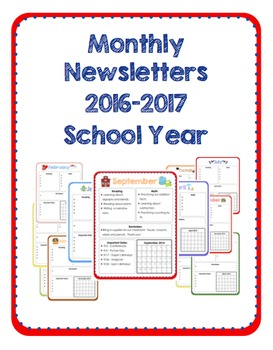 2016-2017 Monthly Newsletters