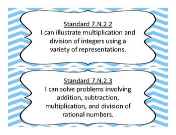 2018-2019 Oklahoma 7th Grade Math Academic Standards, Chevron Background
