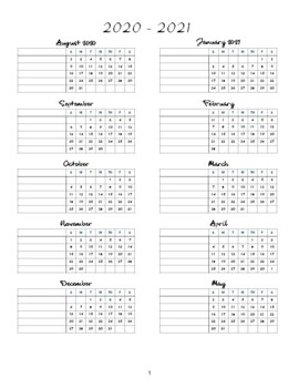 2016-2017 One-Page Calendar