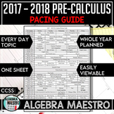 2017-2018 Pre-Calculus Pacing Guide