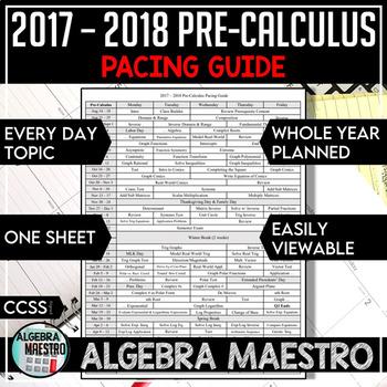 2017-2018 Pre-Calculus Pacing Guide