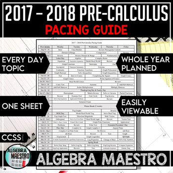 2016-2017 Pre-Calculus Pacing Guide