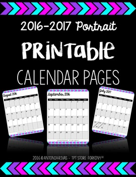 2016-2017 Printable Calendar {with and without U.S. holidays}