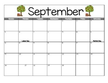 2017-2018 Printable School Calendar