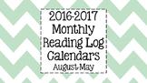 2016-2017 Reading Log Calendars