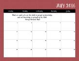 2016-2017 Red Honeycomb Calendar