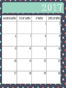 2017 - 2018 School Calendar
