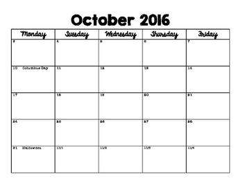 Planning Calendar 2016/2017