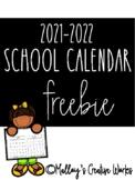 2017-2018 School Calendar FREEBIE