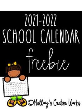 2016-2017 School Calendar FREEBIE
