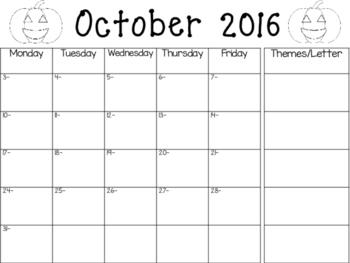 2016-2017 School Calendar with Theme Column