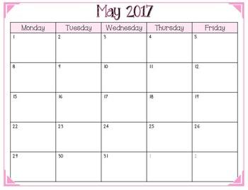 2016-2017 School Year Calendar (Weekdays Only)
